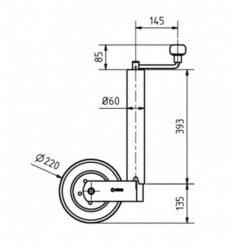 Dimensioner for Næsehjul Ø60 med 225x65mm hårdgummihjul med stålfælg 400KG